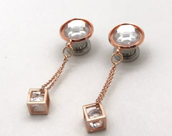 "Boxed Crystal Dangle Plugs Rose Gold Ear Plugs 6g 4g 2g 0g 00g 000g Geometric Plugs 7/16"" 11mm 10mm 8mm 6mm 5mm 4mm Gauge Dangling Ear Plugs"