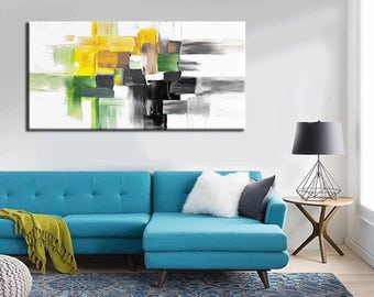 Abstract Painting,  48''x24''x1.5'' HUGE Original DEEP Artist Canvas  Textured Palette Knife Painting,   Ready to Hang