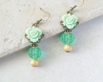 Mint Green Asian Earrings, Chinese Lantern Flower Earrings