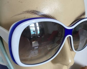 1980s Lacoste White / Blue Glam Sunglasses with graduated lenses