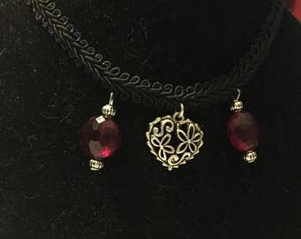 Black ribbon choker necklace, handmade, ruby red crystals, pewter filigree heart pendant, sweetheart ruby choker necklace