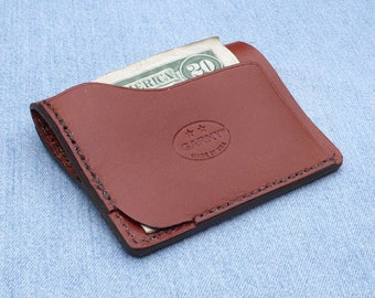 Leather Wallet, minimalist leather wallet, men's wallet, simple wallet, thin wallet, simple wallet, chestnut brown leather, garny No.9