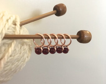 Garnet - Snag Free Knitting Stitch Markers (Small) - Fit up to size 8 US (5.0 mm)