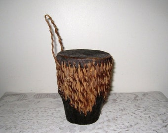 "African Hand Drum With Rattle / Wood, Rawhide & Fur / Vintage Ashiko Drum / 5 3/4"" Tall X 4 1/4"" / Tribal Decor"