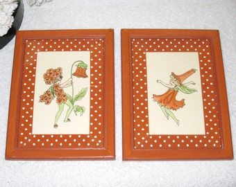 "2 Flower Fairies, Hand Coloured Framed Prints By ""One Of A Kind Workshop"" In Polka Dot Matted Fabric Wood Frames / 6 X 7 7/8"
