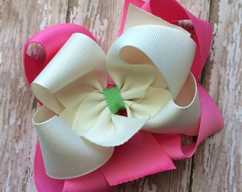 CLEARANCE M2m made to match Eleanor Rose Sidewalk Summer girls double stack hair bow