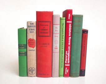 Vintage Red, Green, and Grey Book Collection