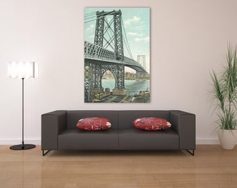 Antique Vintage Style Print of Williamsburg Bridge on Your Choice of Matte Paper, Photo Paper or Stretched Canvas
