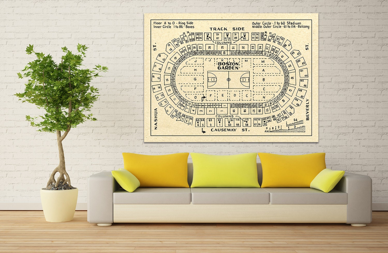 Vintage print of boston garden basketball seating chart on for 12x15 calculator