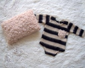 NEW-Newborn Posing Pillow and Long Sleeves Stripped Romper-Photography Prop Outfits-Newborn Boys Posing Set-Baby Boy Romper and Pillow
