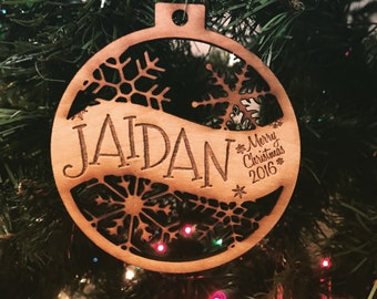 Jaidan - Customizable Merry Christmas Ornament - Engraved Birch Wood Ornament