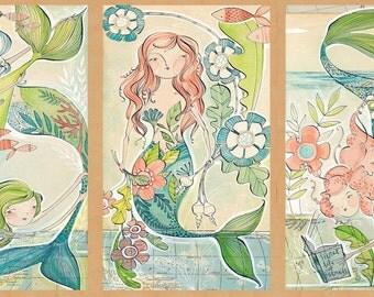 Panel--Mermaid Days-- Mermaid Tale by Cori Dantini for Blend Fabrics