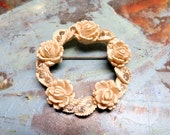 Vintage Celluloid Brooch Flower Brooch Roses Rhinestone Brooch Roung Wreath Figural Pin 1940s Vintage Jewelry