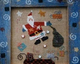 50%OFF Fanci That Primitive SANTA'S Sleigh Ride Folk Art - Counted Cross Stitch Pattern Chart