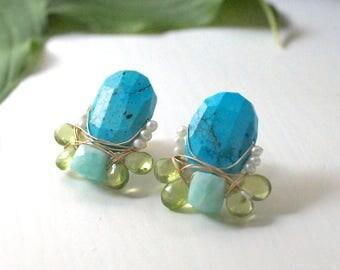 Gemstone cluster stud earrings