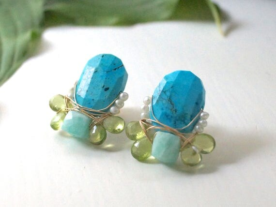 Gemstone cluster stud earrings