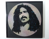 Limited Edition Frank Zappa Mothers of Invention stencil art on reclaimed vinyl record