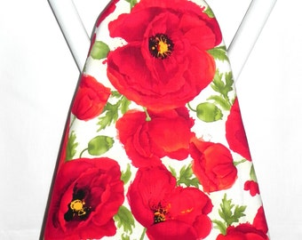 Ironing Board Cover - Poppies in red, green and cream - Sewing room