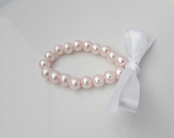 Pearl Bracelet, Pink Pearl Bracelet, White Ribbon Pearl Bracelet, Bridesmaid Gift, UK Seller, Flower Girl Bracelet, Bridal Shower Gifts