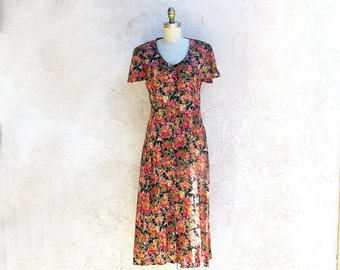 70s Midi Flower Print Dress, Bias Cut Frock, Made in India