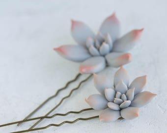 2 pcs Grey Succulent Hair Pins Hairpin Set Polymer Clay Bobby Pins Hair Decoration Accessory Women Handmade Decoration Wedding Bridal Hair