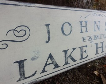 Personalized Lake House Wood Sign - Hand Crafted Wood Decor