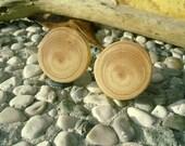 WOODEN Round CUFFLINKS From JUNIPER Tree Branch Handmade Wooden Cufflinks