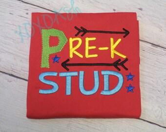 Boys School Shirt PreK Stud--ANY grade or level--PreK Kindergarten Grade--Embroidered shirt