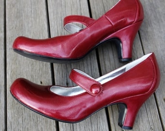 Lipstick cherry red shiny patent leather ankle strap maryjanes round baby doll toe louis heel cosplay ruby slippers 20-30s dance costume 8.5