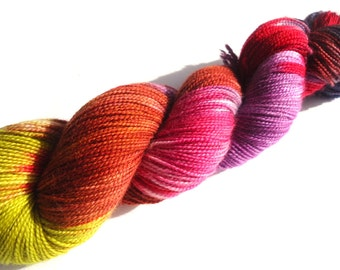 Merino High Twist sock yarn hand-dyed variegated: Indian Summer