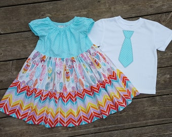 Brother and Sister Matching Outfits - Feathers and Chevron Twirly Tiered Peasant Dress with Brother Applique TIe Shirt