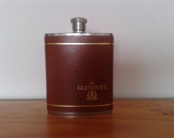 "Vintage whiskey hip flask,""The Glenlivet"" made in England,  Stainless Steel Hip Flask, Boxed English Whiskey Flask"