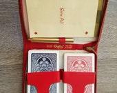 1960s Bridge Kit 2 Card Decks Travel Set Red Zippered Case Griffin Deadstock Game