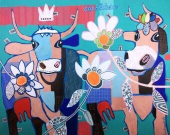 """Contemporary Original Art, Pop Art Cow. """"Coco&Chanel"""", 80 x 100 cm, Leinwand"""