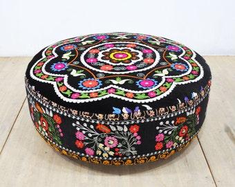 Suzani round ottoman - I