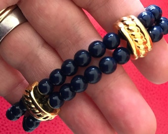 Signed Monet Decoritive Gold Tone and Navy Blue Bead Bracelet