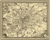 Vintage Map - London, England Bus Routes 1928