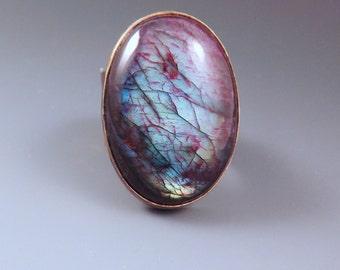 Purple Labradorite- Spectrolite- Multi Color Swirl Patina- One of a Kind- Metal Art RedPaw Statement Ring