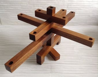 FOLDING Teak Wood 9 Candle holder. 1960's Vintage Modernist. Mod, Mid century, Danish Modern, Eames era.