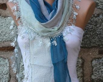 ON SALE --- Blue Scarf Shawl, Wedding Scarf, Cowl Scarf Bridesmaid Gift Bridal Accessories Gift Ideas For Her Women Fashion Accessories