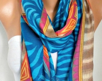 ON SALE --- Blue Tones Cotton Scarf Valentine's Day Gift Shawl  Cowl Oversized Wrap Gift Ideas For Her Women Fashion Accessories Teacher Gif