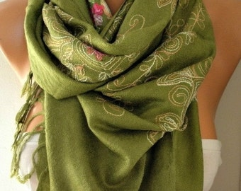 ON SALE --- Grass Green Embroidered Scarf,Summer Shawl, Easter,Oversized, Bridesmaid, Bridal Accessories, Gift Ideas For Her, Women Fashion