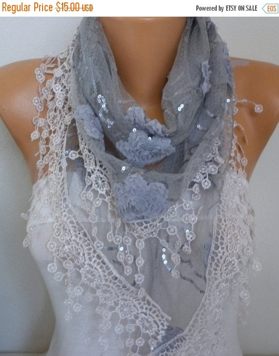 ON SALE --- Gray Floral Sequin Scarf,Wedding Scarf, Bohemian,Cowl  Bridesmaid Gift Gift Ideas For Her Women's Fashion Accessories