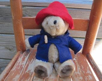 "Vintage Tan Paddington Bear with Hat and Coat Plush Stuffed Animal Bean Bag 10"" Eden Toys 1975/1981"