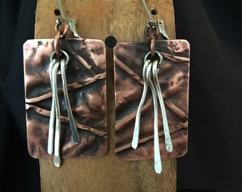 Fold Formed Copper Earrings with Sterling Paddles - Handmade in the USA