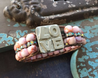 Valentine's Day pink leather bracelet cuff - LOVE - berry pink semi precious stone rhinestones boho by slashKnots
