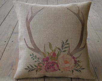 Flowered Antlers Burlap Pillow, Water color antlers, Shabby Chic, Lodge, Cabin, INSERT INCLUDED