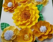 Large Yellow Citrus Paper Flowers RESERVED