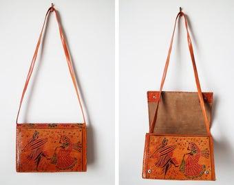 Vintage Hand Tooled Indian Leather Shoulder Bag Clutch BEAUTIFUL