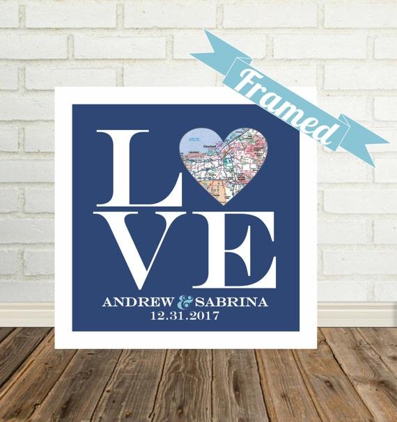 Love Sign Wedding Gift for Couple Heart Map Art Custom Wedding Gift ...